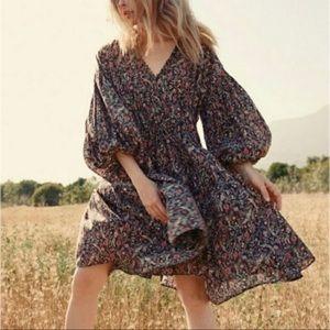 Doen Grasse Black Floral Cotton Short Boho Dress